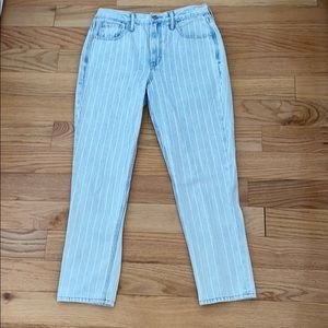 American Eagle White Stripped Mom Jeans